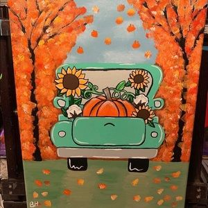 Fall Drive Hand painted canvas